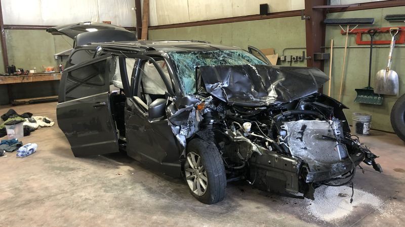 Van involved in crash with Pius X bus.