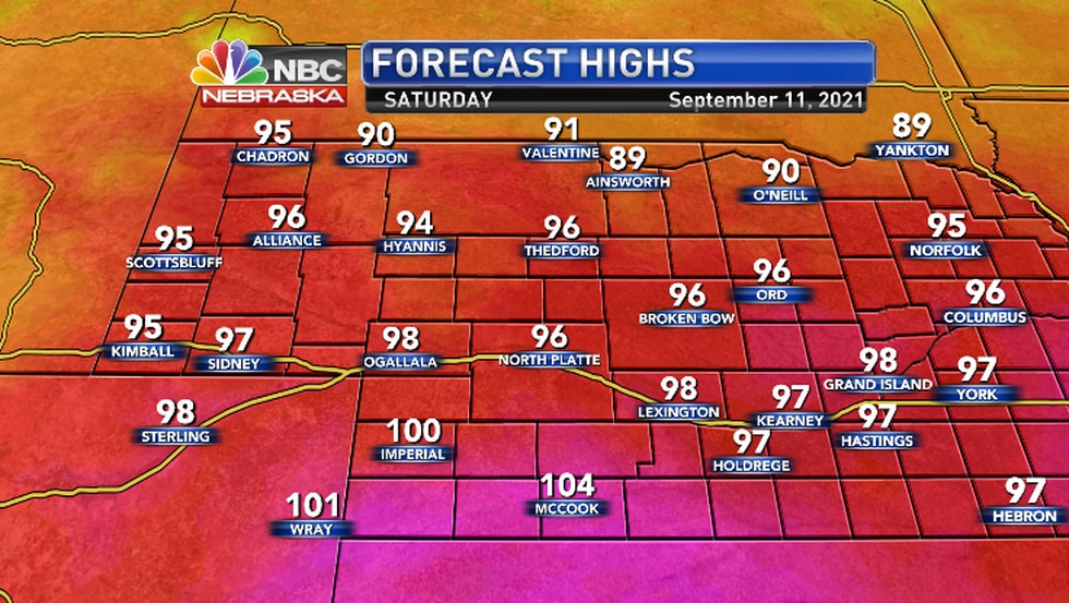 Record heat possible in the Imperial, McCook areas..
