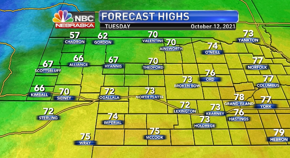 Cooler air wil infiltrate the Panhandle with warmer air farther east.