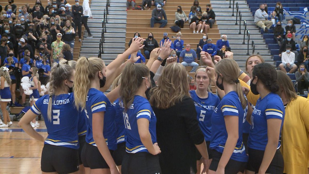 North Platte volleyball during a team huddle on Tuesday.