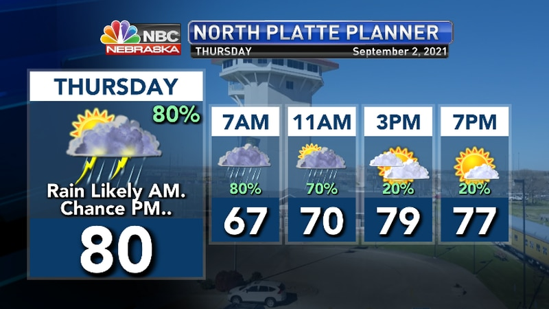 Rain likely in the morning with additional t'storm chances afternoon, evening..