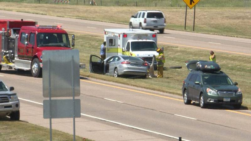 Emergency crews work to help people involved in an incident on I-80 in North Platte on Sunday....