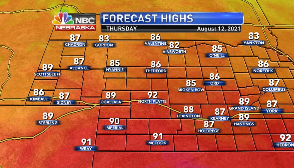 Only Southwest Nebraska will see highs in the 90s...