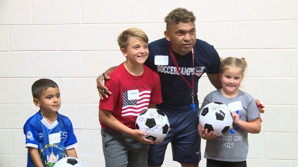 Local youth soccer players have the opportunity to train with Brazilian soccer player Gilson Sena at a soccer camp (Credit: Patrick Johnstone/KNOP-TV)
