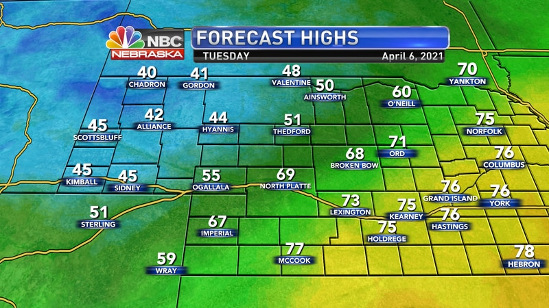 We'll see a wide spread in temperatures on Tuesday as a cold front drops through the area. Look...