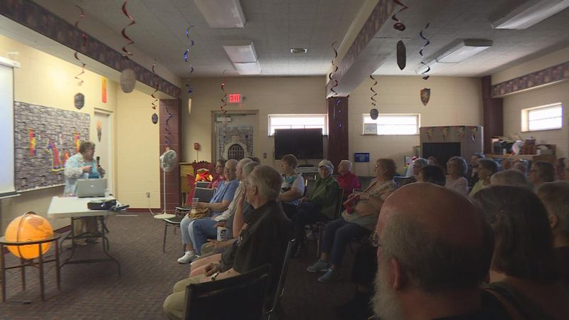 Former Beatrice librarian, Laureen Riedesel, hosting her program about Swedish Americans at the...