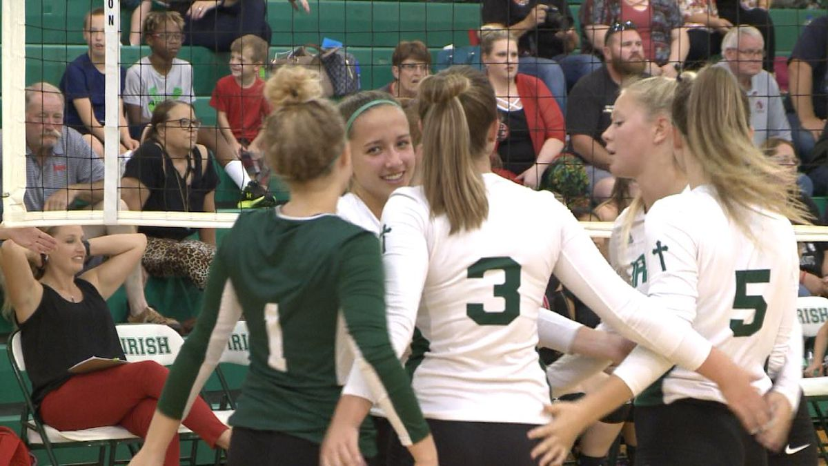 The St. Pat's volleyball team defeated Perkins County 3-0 on Thursday (Credit: Patrick Johnstone/KNOP-TV)
