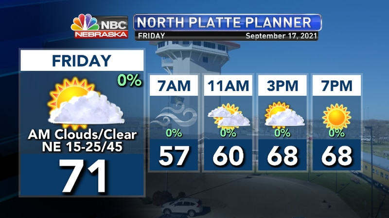 Strong, gusty winds in the mornin will relax by afternoon.  Clearing skies..