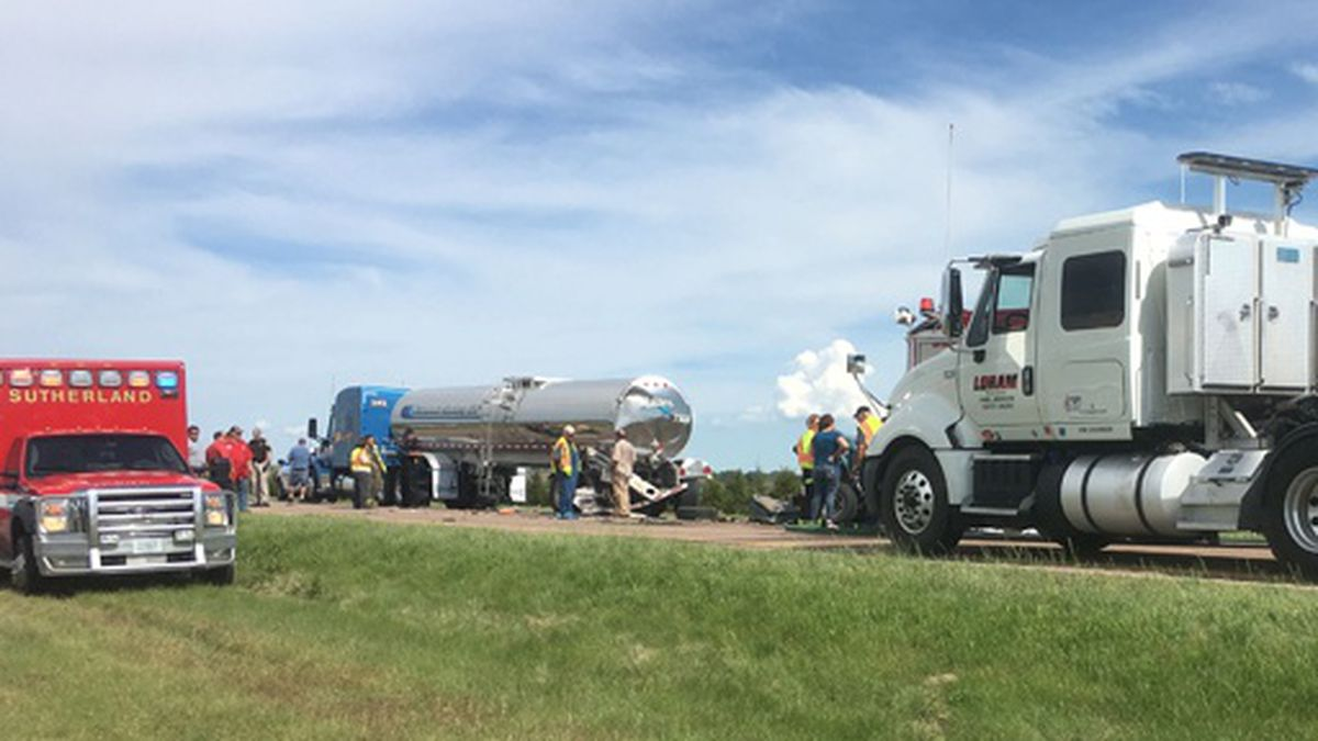 The pick-up driver in this accident was killed after a collision with a semi.  Officials say he died Friday afternoon between Sutherland and Paxton.
