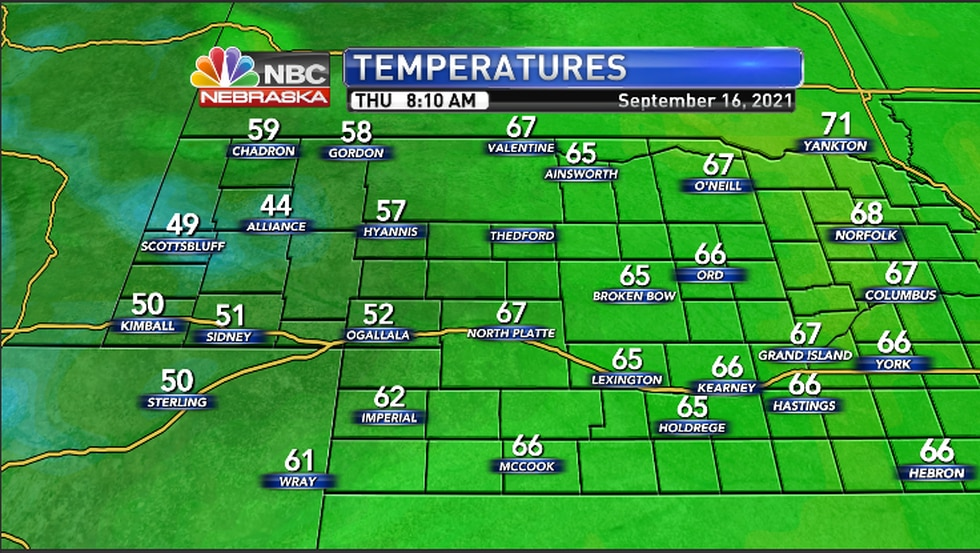 Cool to mild temperatures in the area Thursday morning