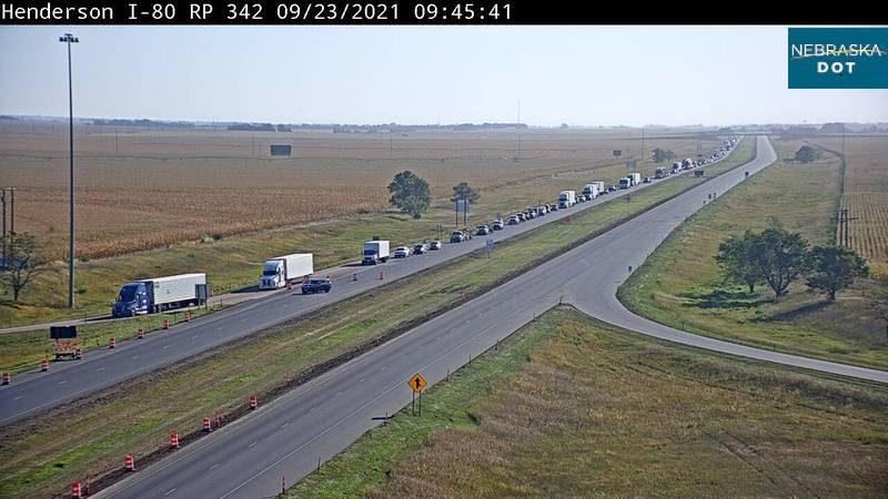 Westbound traffic on I-80 near Henderson was at a standstill due to a multi vehicle crash...