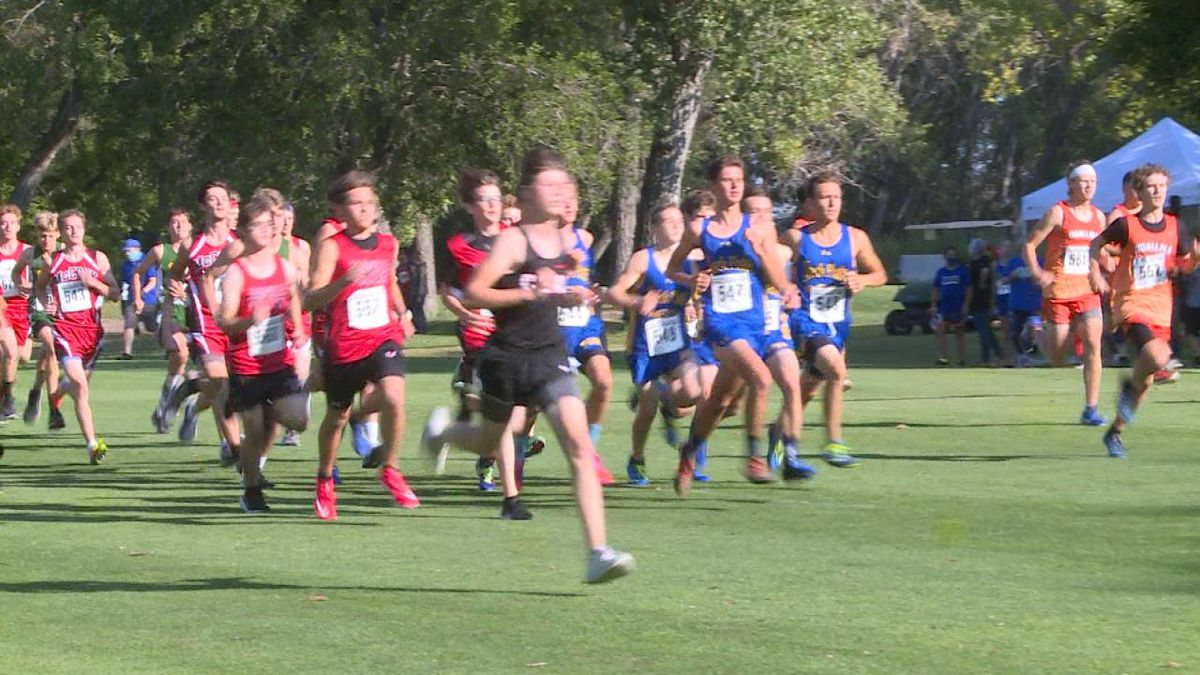 Start of the boys cross country race on Saturday morning.
