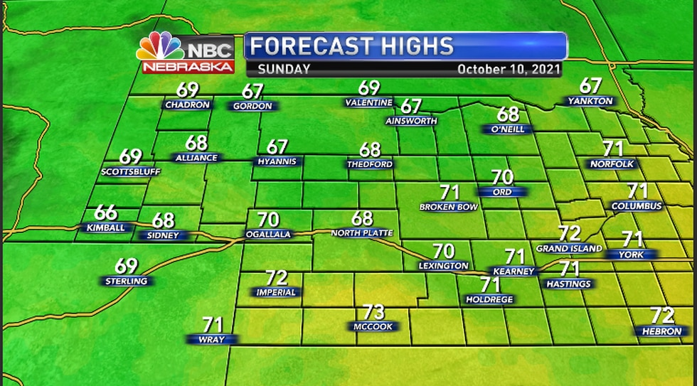 Cooler temperatures for the region Sunday