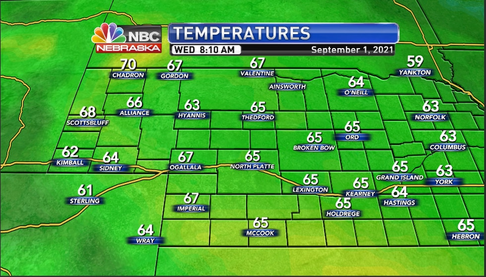 Temperatures across the region as of 8:10AM CDT/ 7:10AM MDT