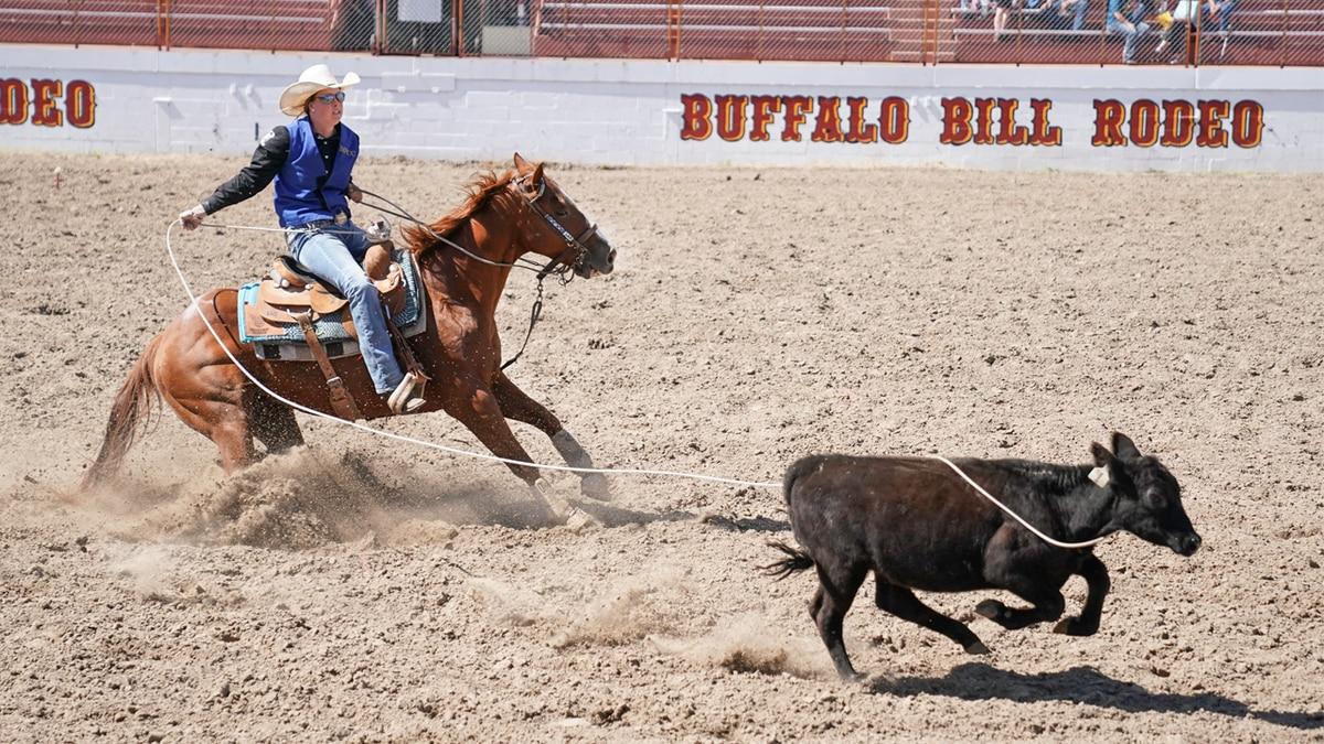 Caitlyn Comfort competes in the breakaway roping for Mid-Plains Community College during the MPCC Stampede in 2019.