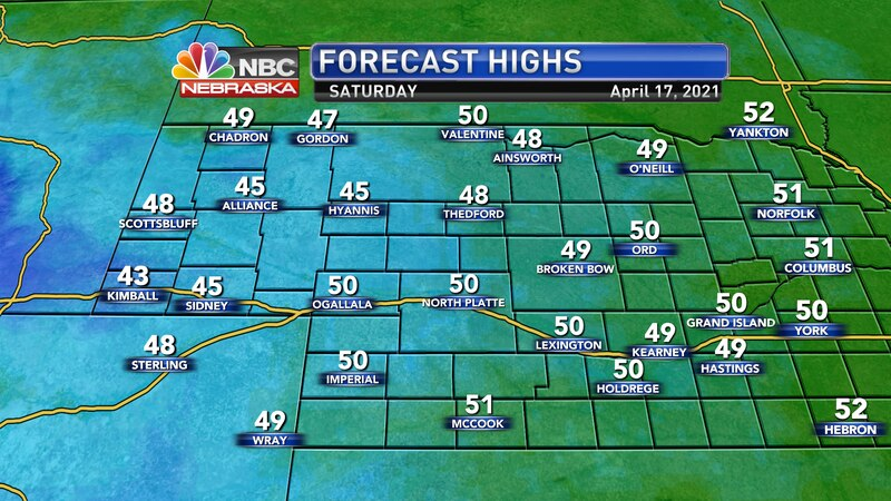 Temperatures remain chilly on Saturday with highs in the 40s to near 50° with north winds at 10...