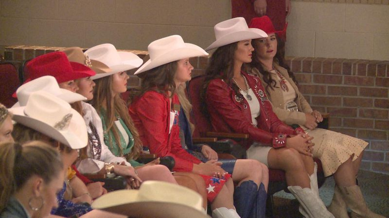 Miss Rodeo Nebraska 2021 contestants waiting for the second round of the competition.