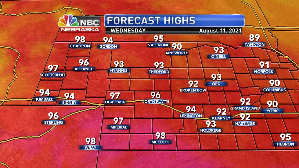 Temperatures remain quite hot on Wednesday with highs well into the 90s.