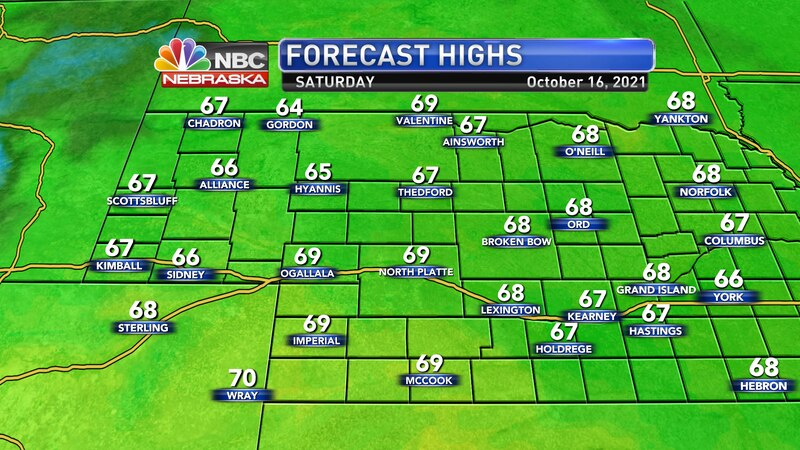Temperatures will be seasonal on Saturday with highs in the mid and upper 60s.