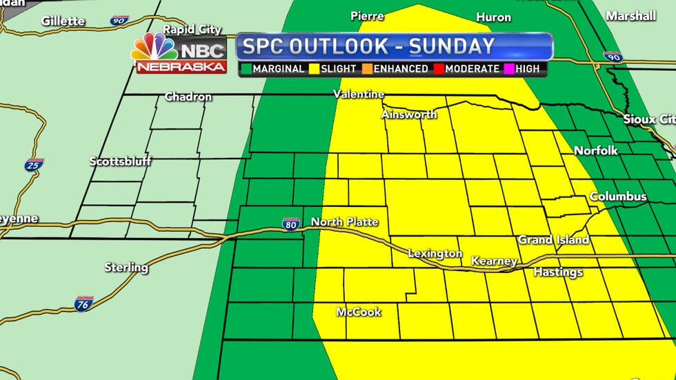 Isolated to scattered severe storms are expected Sunday as a cold front pushes through the state.