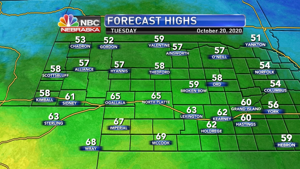 Temperatures should range from the upper 50s to upper 60s on Tuesday across western Nebraska.