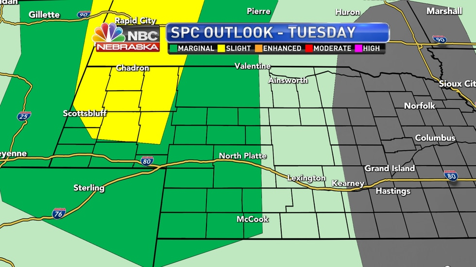 Isolated to scattered severe storms are possible on Tuesday afternoon and evening across the...