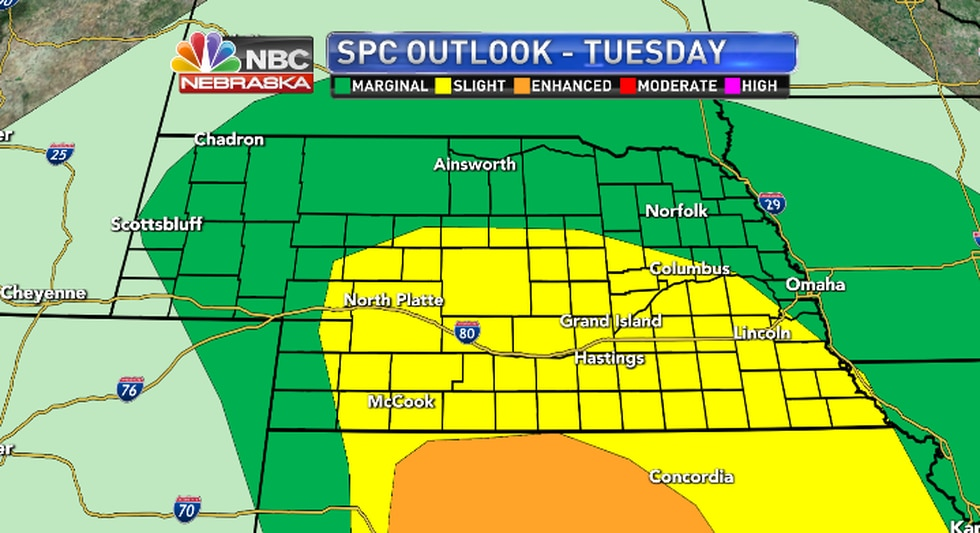 Scattered storms could be severe but the primariy threat will be in Kansas.
