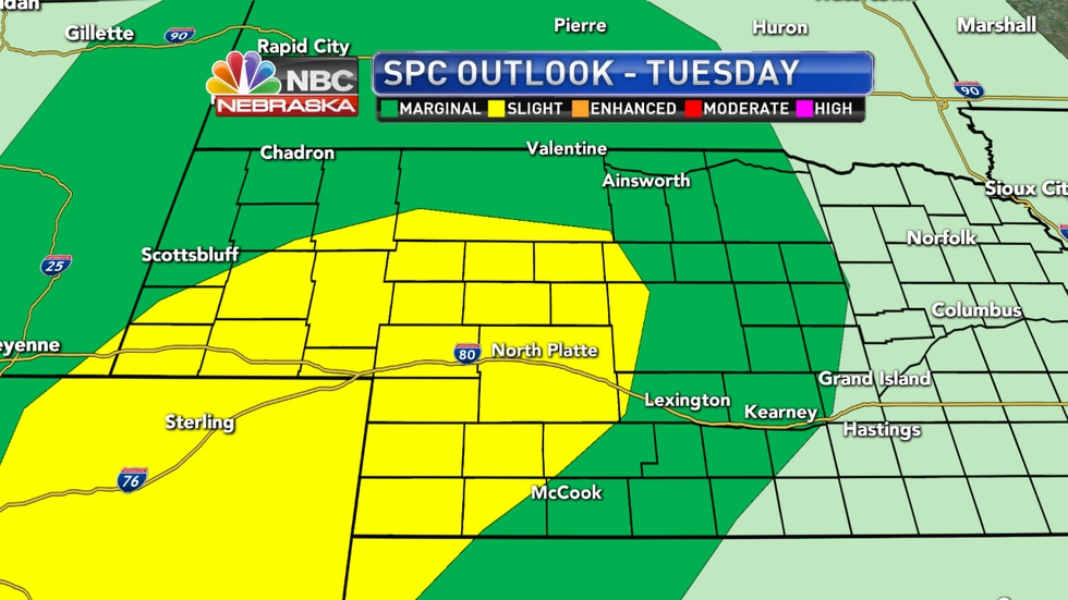 Strong to severe storms are possible on Tuesday across western Nebraska - including in North Platte - with large hail and damaging winds as the main threats.