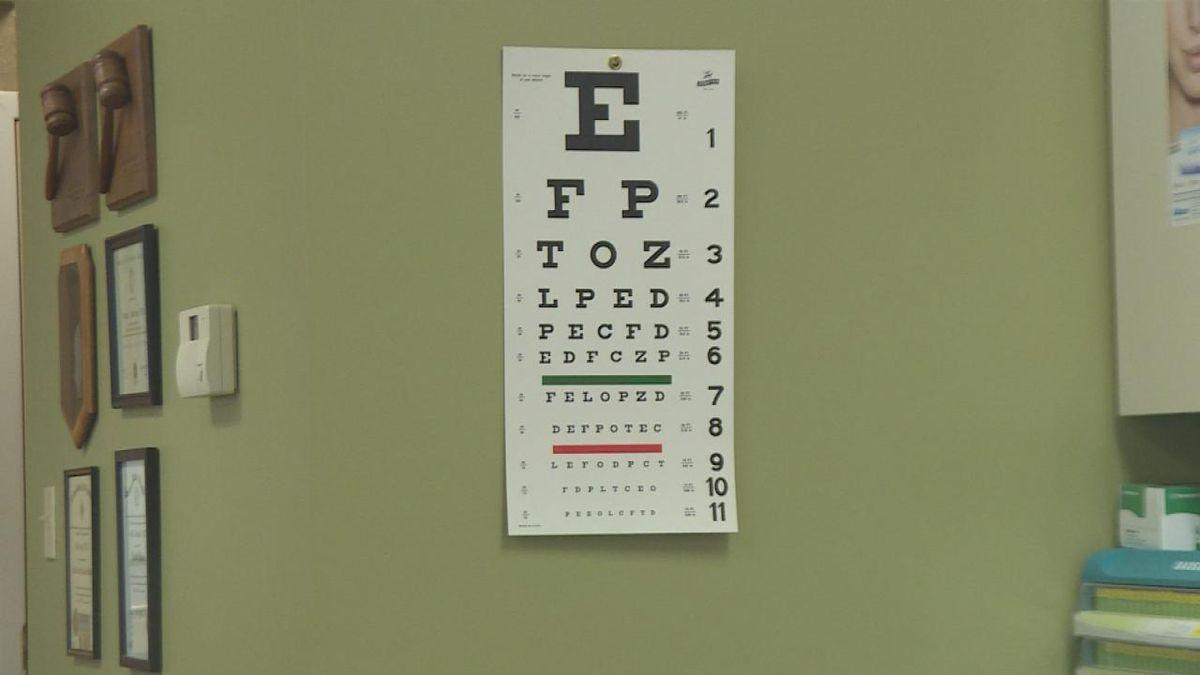 A Snellen chart located in the office of Complete Eye Care in North Platte, Nebraska.