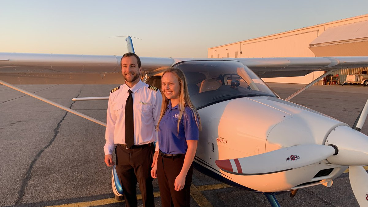 Emily Farley, the President of UNK's Aviation Program, received her UNK Pilot Wings for making...