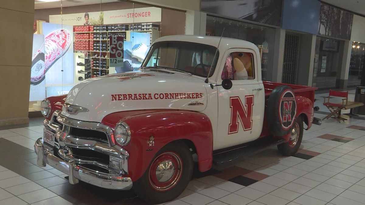 The 1954 Chevy Husker pickup truck that Bruce Lavallvur remodeled to reflect his father's love for the Huskers. (Source: Madison Clark\KNOP-TV)