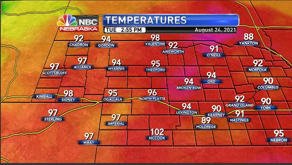 Temperatures across the region as of 2:55PM CDT/ 1:55PM MDT Tuesday afternoon