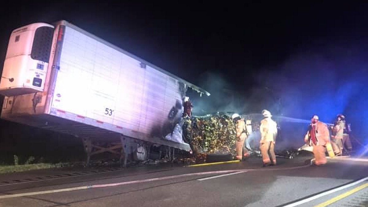 A semi trailer and the load of potatoes inside were destroyed following a fire overnight on Interstate 80. (Source: Hall County Sheriff's Department)