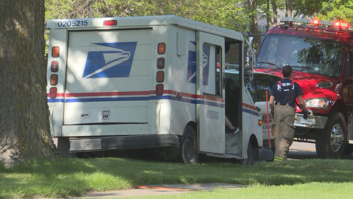 A vehicle struck a mail carrier on 4th Street near Tabor. (Source: Jace Barraclough/KNOP)