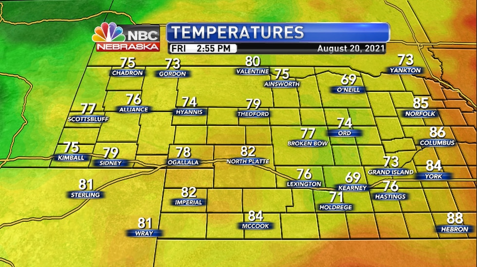 Temperatures across the region as of 2:55PM CDT/1:55PM MDT