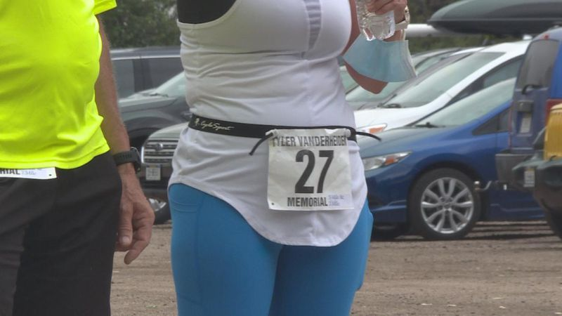 A participant's number at the Tyler Vanderheiden Memorial Run on May 22, 2021.