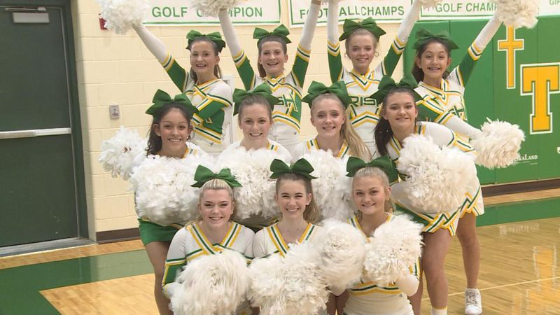 Photo of the St. Patrick's cheerleading team at the boys basketball game on Feb. 25, 2021.