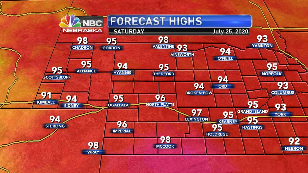 Highs well into the 90s are expected to start the weekend before cooler weather arrives on Sunday.