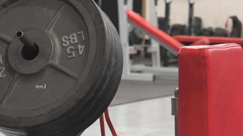 Close up of weights at the Fire House Gym in North Platte, Nebraska.