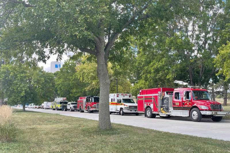 NPPD, NPFD, Haz-Mat Response Inc. line up at hydro plant location for emergency training,
