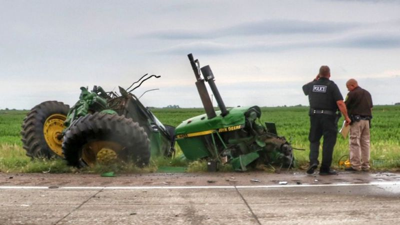 Dawson County Sheriff says the driver of a semi collides with a tractor he was trying to pass...