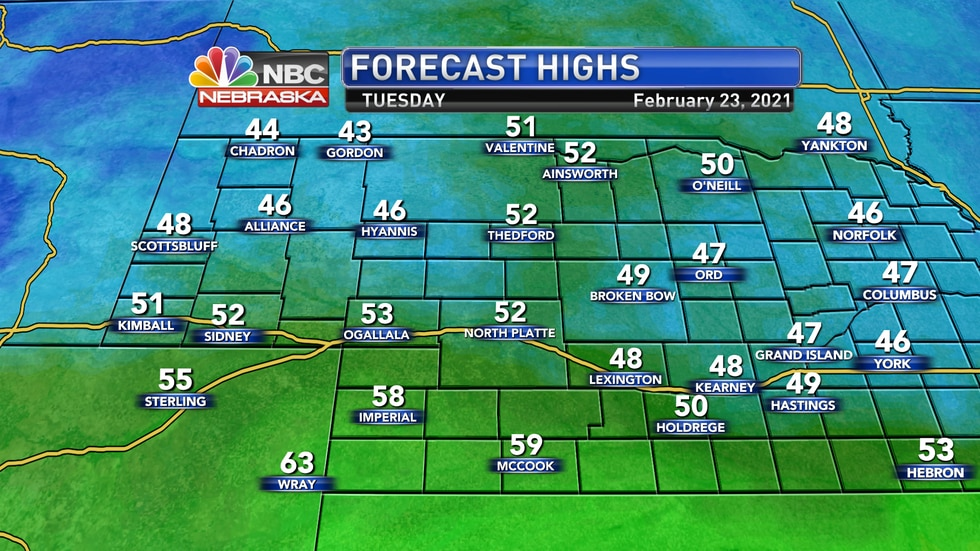 Look for highs in the 50s for most of the area on Tuesday.