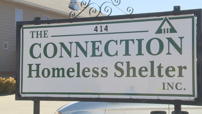 Close up shot of the Connection Homeless Shelter sign.