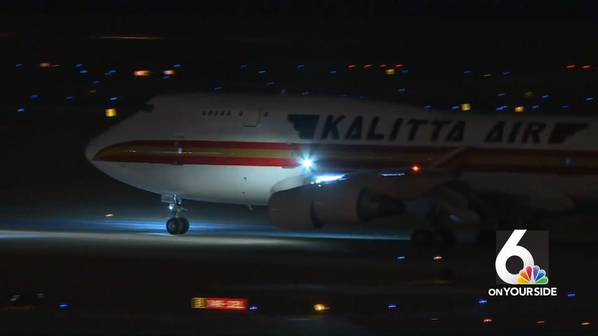 A jet containing 57 people quarantined for coronavirus arrives at Eppley Airfield on Friday evening, Feb. 7, 2020. (WOWT)