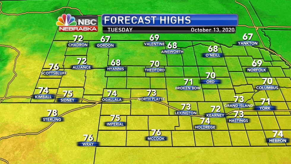 Temperatures should range from the upper 60s to mid 70s on Tuesday.