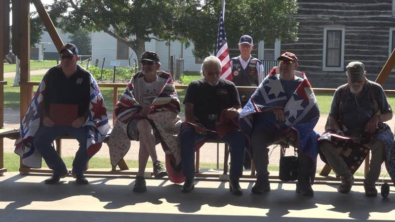 Five North Platte veterans sitting at the Lincoln County Historical Museum after being awarded...