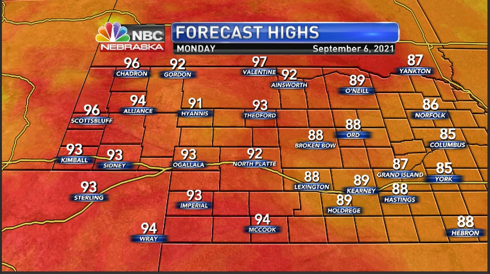 Highs in the low to mid 90s for Labor Day
