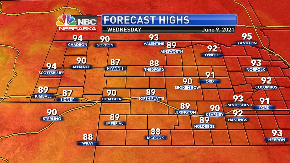 Temperatures on Wednesday shouldn't move much with highs in the upper 80s to low 90s.