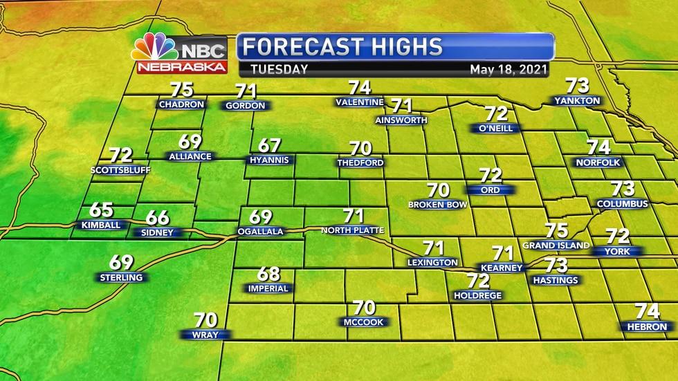 Temperatures remain a bit cooler than average for Tuesday with highs in the upper 60s to low 70s.