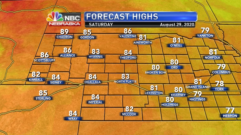 Cooler temperatures in the 80s are expected on Saturday across the area.